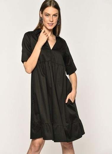 Loves You Belden Düğmeşi Poplin Gömlek Elbise  Siyah